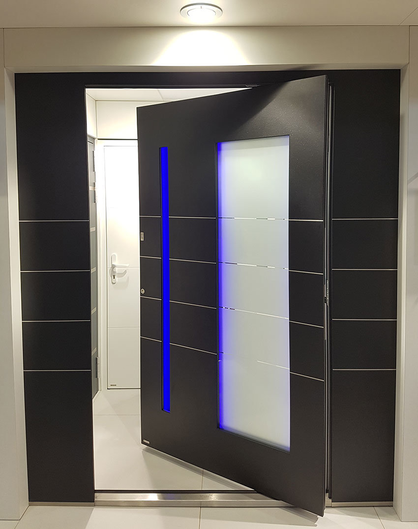 RK Pivor door with blue led lighting