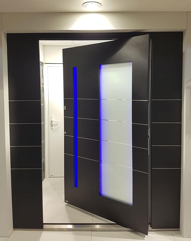 RK Pivor door with blue led lighting