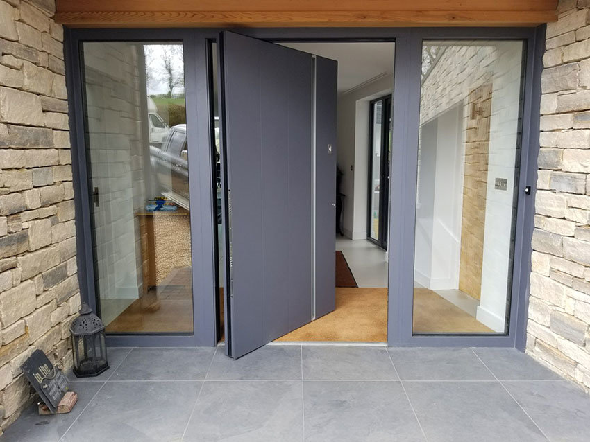 RK Pivot Door with sidelights in grey
