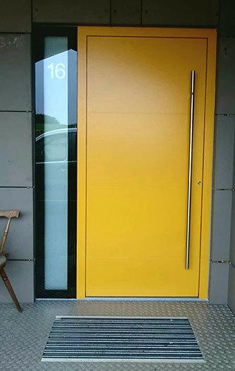 Bright yellow modern front door