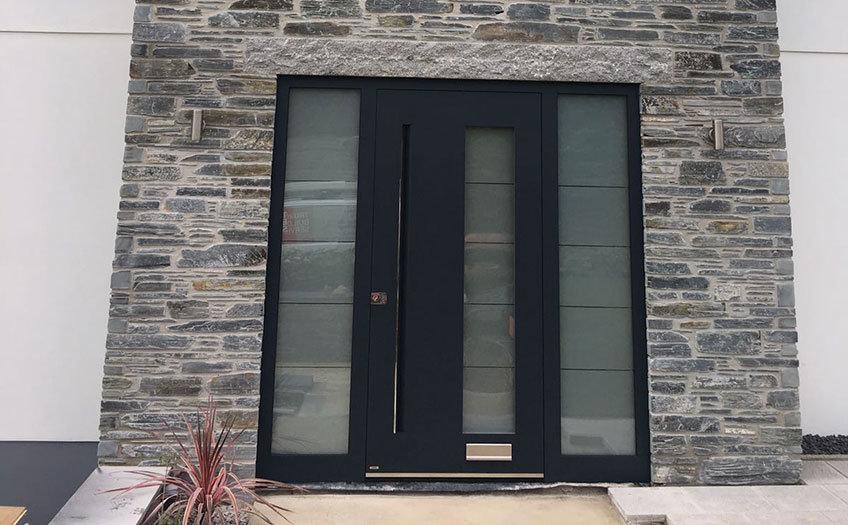 Contemporary grey front door