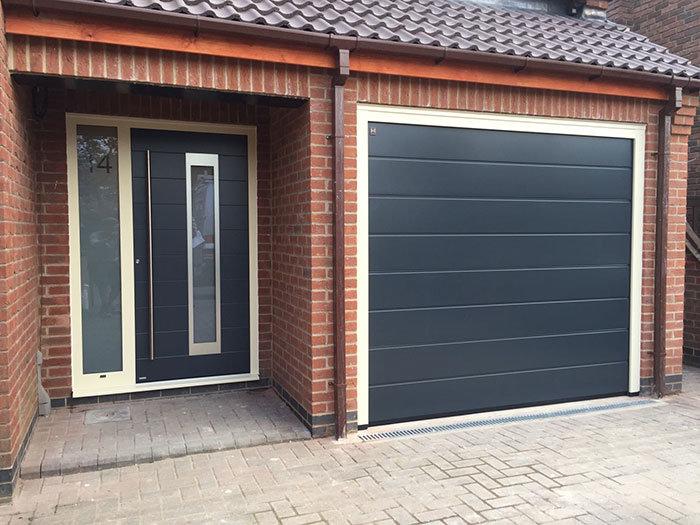 Front door with matching garage door