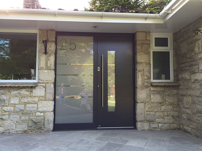 RK Modern front door with number in glass