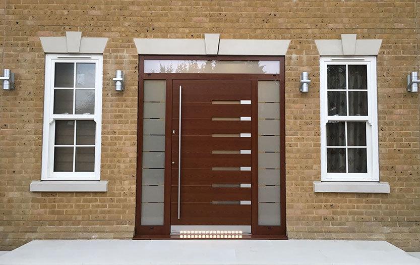 Timber effect aluminium front door