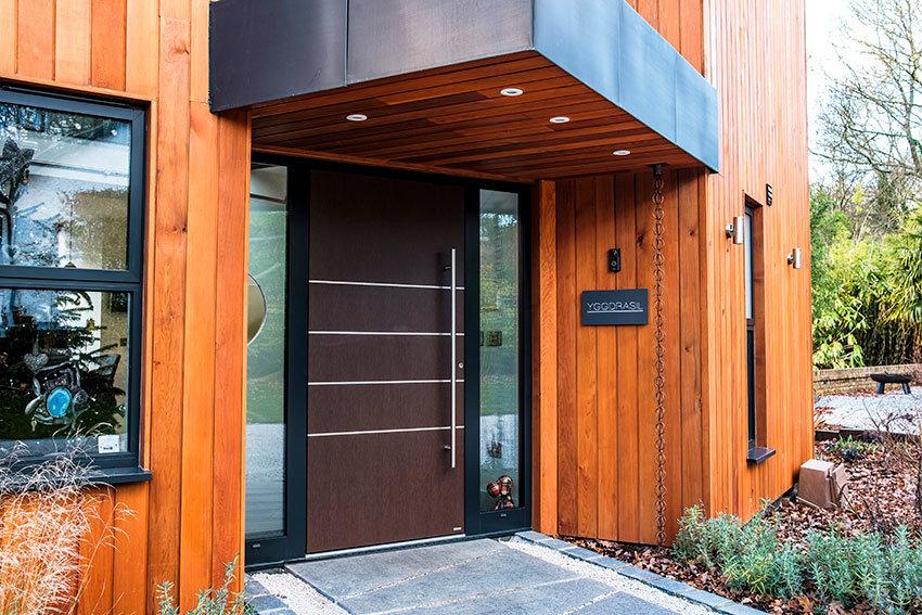 Timber effect pivot front door