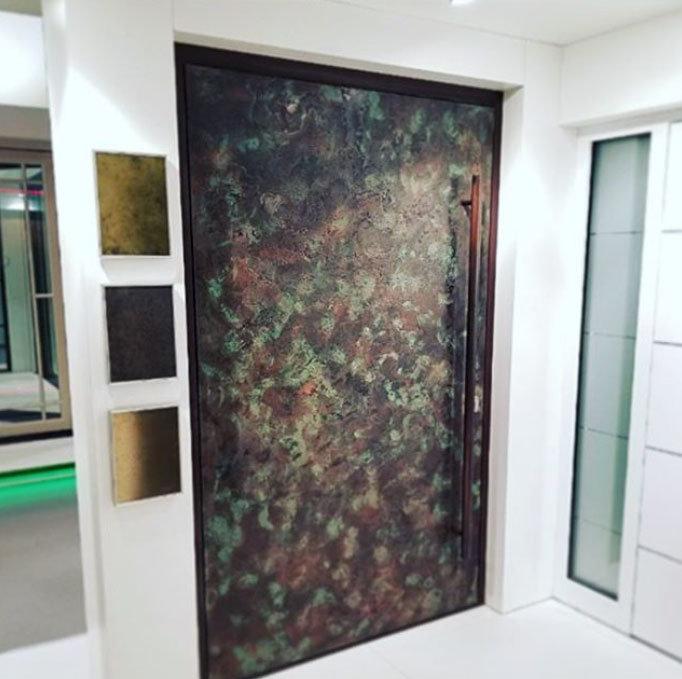 Metallic camouflage front door design