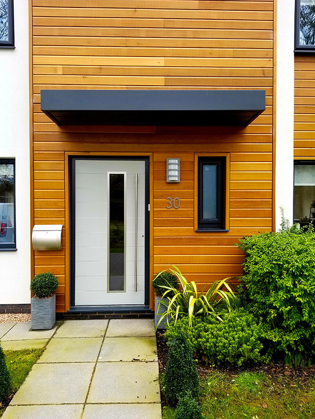 Contemporary white front door