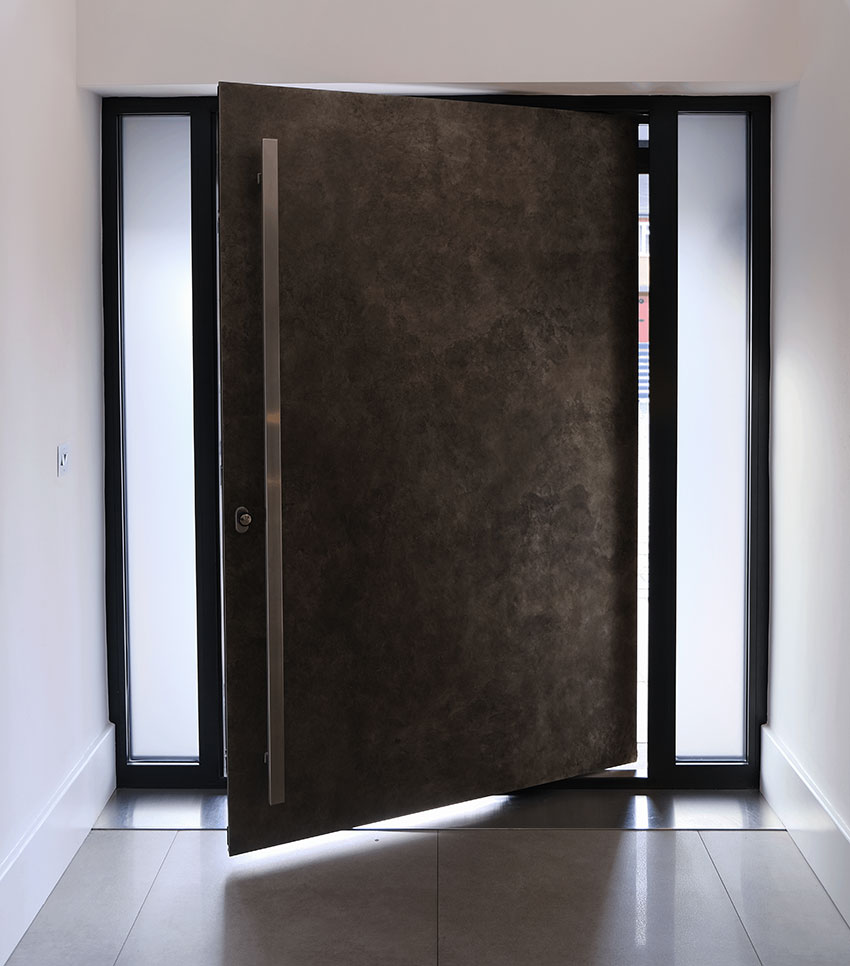 Rusitc steel finish Pivot door