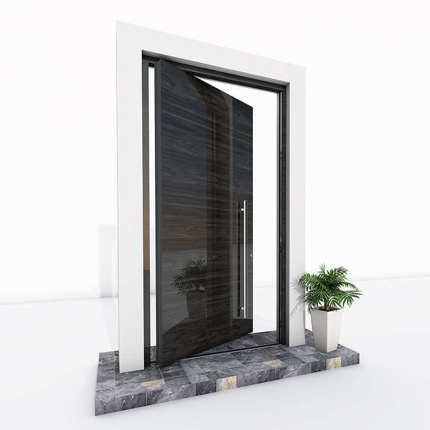 Pivot Door black wood effect gloss