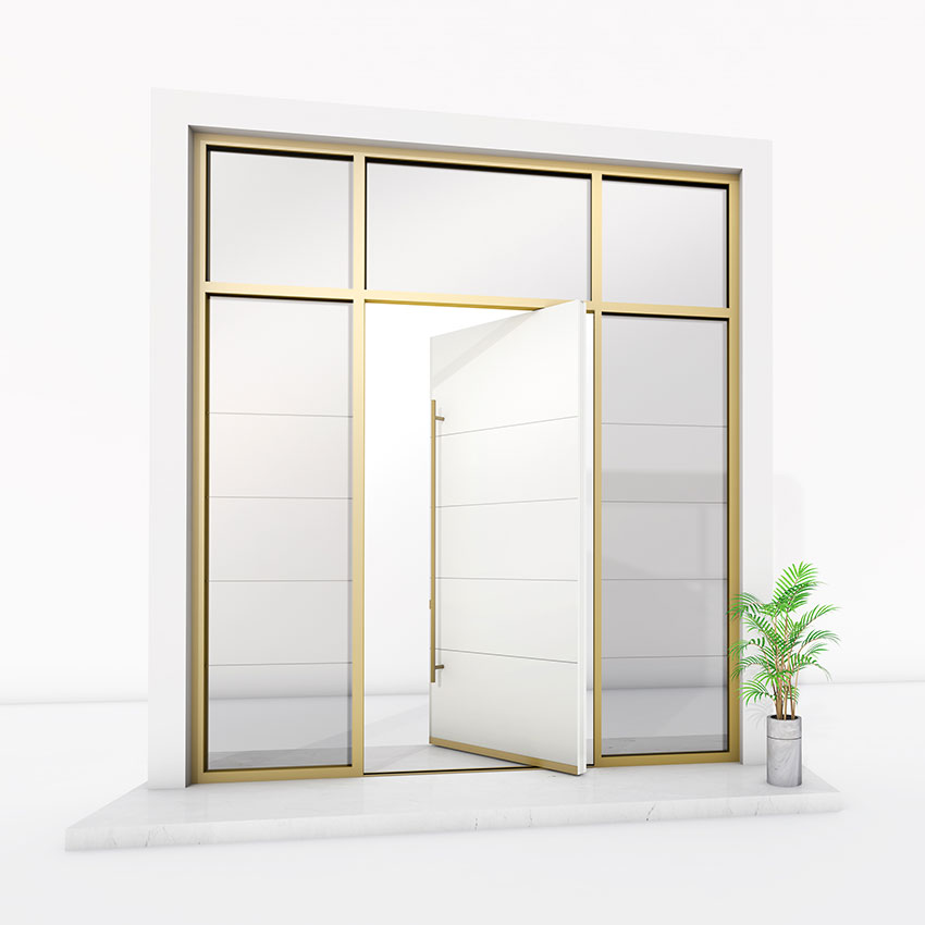 white with gold trim Pivot Door