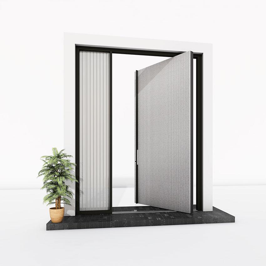 Pivot Door grooved concrete effect
