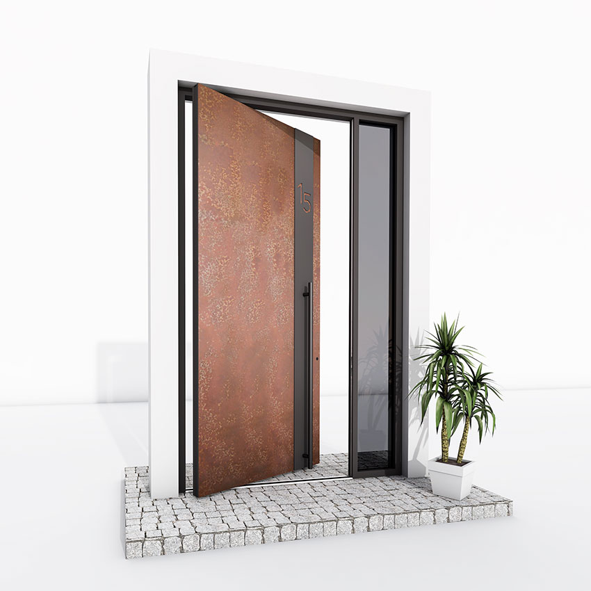 Pivot Door rust metallic effect