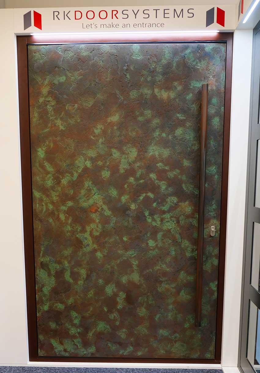 RK Pivot door antique textured copper
